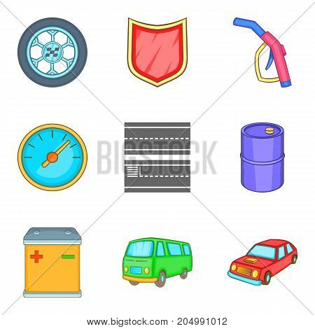Replacing part icons set. Cartoon set of 9 replacing part vector icons for web isolated on white background