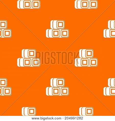 Hay bundles pattern repeat seamless in orange color for any design. Vector geometric illustration