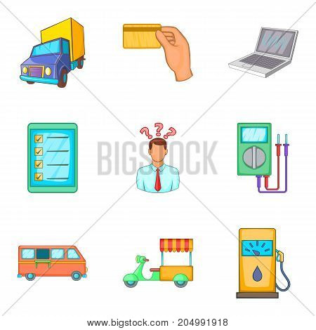 Street trade icons set. Cartoon set of 9 street trade vector icons for web isolated on white background