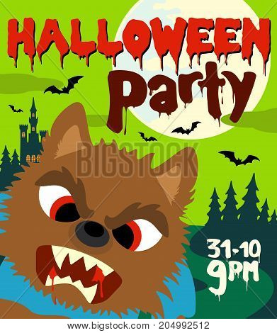 Halloween party background with werewolf.Vector design illustration