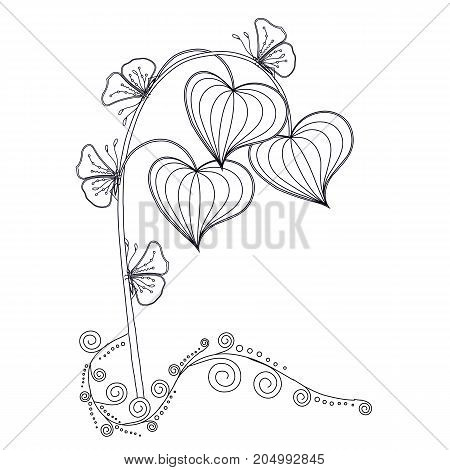 Monochrome hand drawn decorative plant element for coloring page, print, tattoo stock vector illustration
