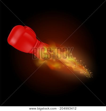 Flying Sport Burning Red Glove with Fire Flame Isolated on Black Background