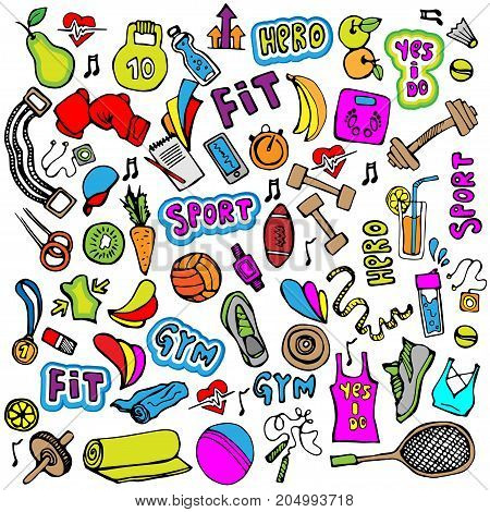 Sports hand draw icon and elements. Fitness and sport colored doodle icon collection, cartoon sport icons isolated on white background