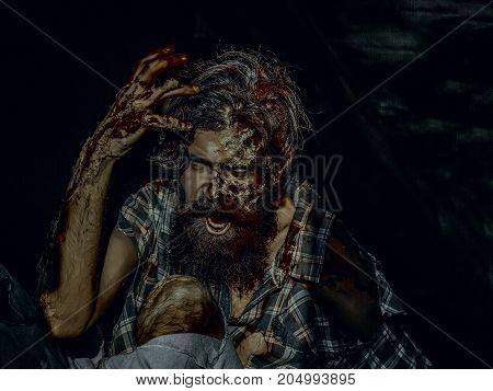 Halloween Man With Bloody Hands On Dark Background