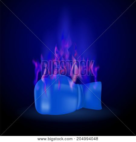 Sport Burning Blue Glove with Fire Flame Isolated on Dark Background