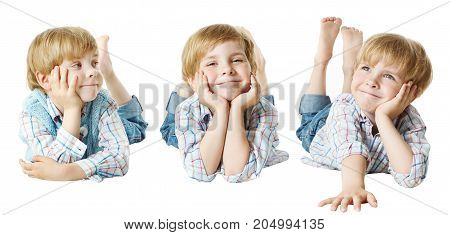 Happy Child Little Kid Boy Lying Down on Stomach hand on chin isolated over White background