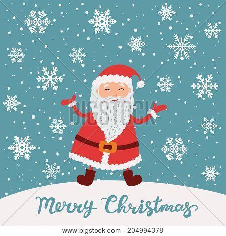 Merry Christmas. Santa Claus in Christmas snow scene. Christmas greeting card.