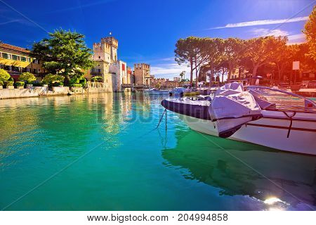 Lago Di Garda Town Of Sirmione Turquoise Watefrront View