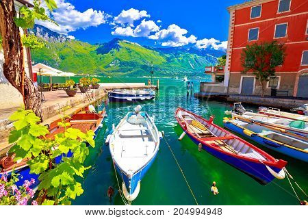 Limone Sul Garda Turquoise Waterfront And Boats View