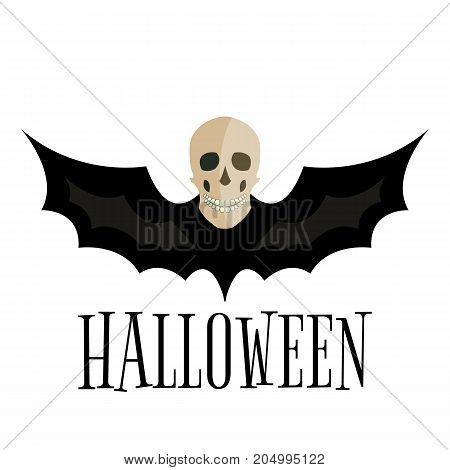 Illustration of a cartoon image of a bat with a skull instead of a head. Sits a bat. Vector skull drawing with wings. Halloween ghost bat on light background.