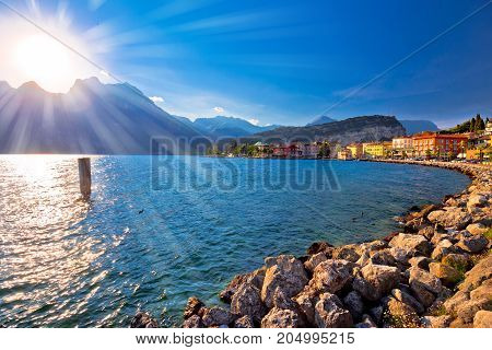 Colorful Town Of Torbole And Lago Di Garda Sunset View