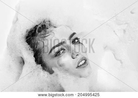 Female Face In Foam