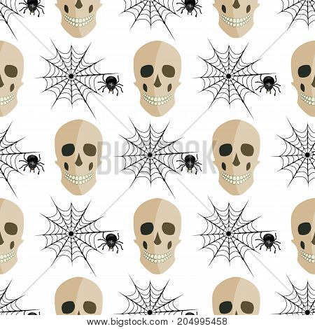 Halloween seamless patterns design with spiders and skulls. Vector illustration of a Halloween style with seamless pattern. Holiday horror and fear in October.