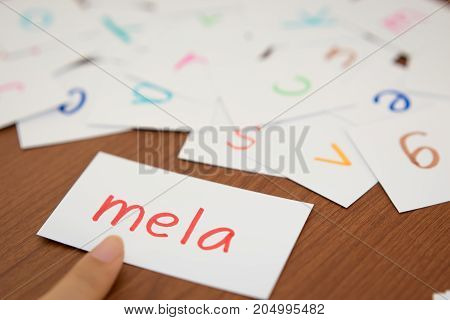 Italian; Learning The New Word With The Alphabet Cards; Writing Apple