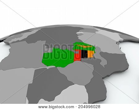 Flag Of Zambia On Globe