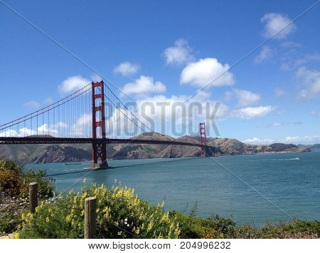 San Francisco bridge and bay in a sunny day