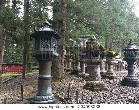Temple in the forest of Japan, antique traditions