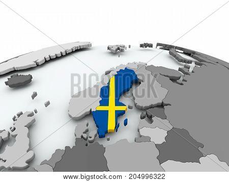 Flag Of Sweden On Globe