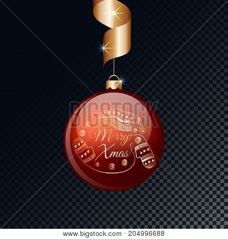 Merry Christmas red ball with gold ribbon. Vector illustration.