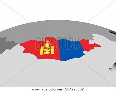 Flag Of Mongolia On Globe