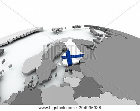 Flag Of Finland On Globe