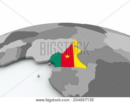 Flag Of Cameroon On Globe