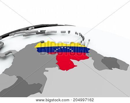 Flag Of Venezuela On Globe
