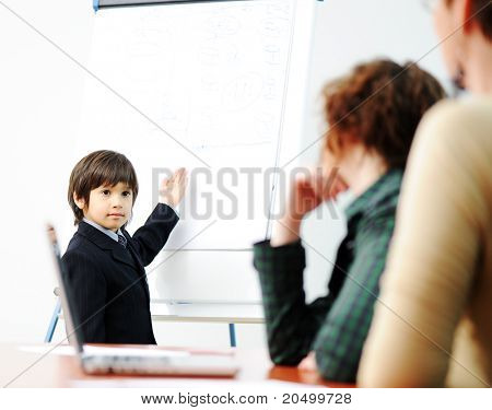 Genius kid on business presentation speaking to adults and giving them a lecture poster
