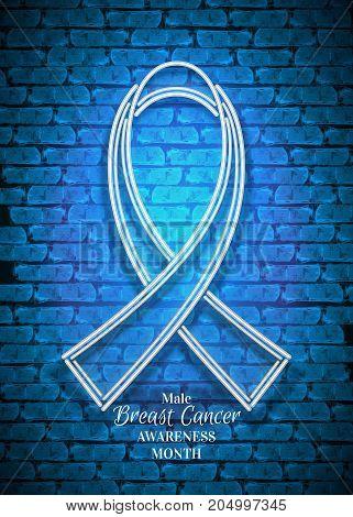 Male Breast Cancer Awareness Month Emblem, White Ribbon Symbol