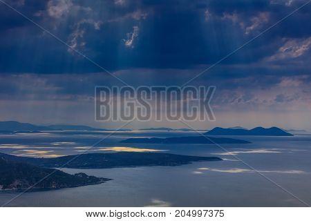 rain in Ionian Islands. Lefkada island Greece