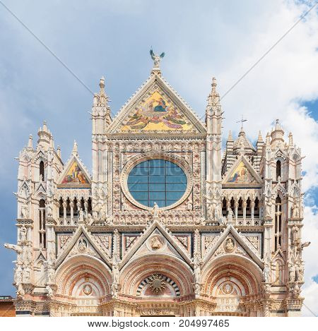 Facade of Siena Cathedral (Duomo di Siena) it is a medieval church major tourism attraction in Siena Italy