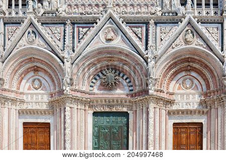 Part of facade of Siena Cathedral (Duomo di Siena) it is a medieval church major tourism attraction in Siena Italy