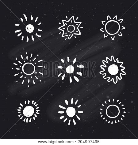 Set of hand drawn sun on chalkboard background. Sun icon. Stylized sun. Vector Illustration.