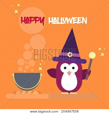 Vector flat penguin character stylized as witch with magic stick and with pot. Modern flat template of Halloween card.