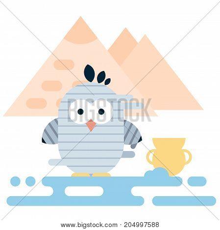 Vector flat penguin character stylized as ancient egyptian mummy. Modern flat illustration.