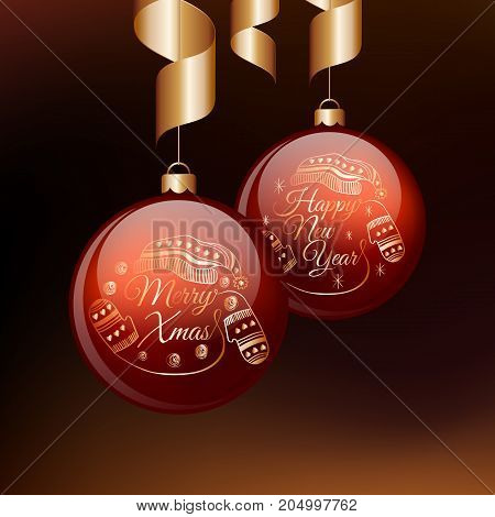 Merry Christmas and Happy New Year red balls with gold ribbons. Vector illustration.