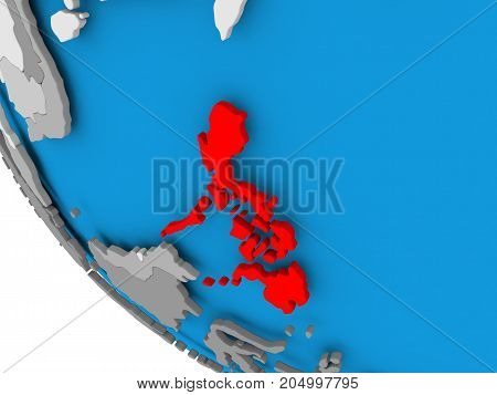 Philippines On Political Globe