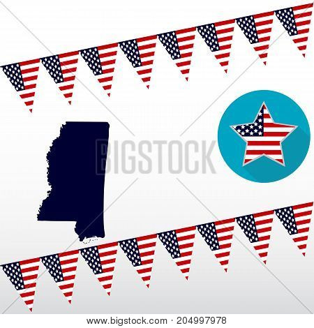 Map of the U.S. state of Mississippi on a white background. American flag star