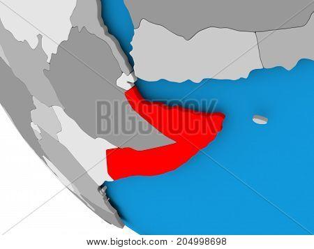 Somalia On Political Globe