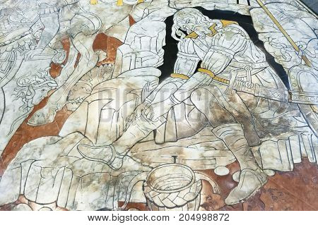 Siena Italy - April 04 2017: Fragment of the marble floor of Siena Cathedral (Duomo di Siena)