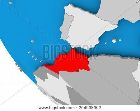 Morocco On Political Globe