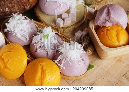 Steamed sweet taro cake with coconut delicious