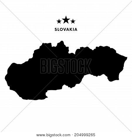 Slovakia map. Stars and text. Vector illustration.