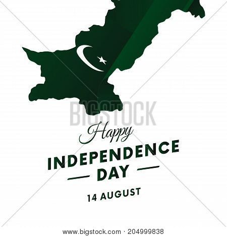 Pakistan Independence day. Pakistan map. Vector illustration.