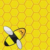 Cartoon illustration showing a bee over a honeycomb poster