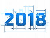 New Year 2018 number with dimension lines. Element of blueprint drawing in shape of 2018 year poster