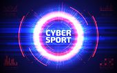 Cyber sport abstract background. Professional gaming stream banner design. Sci-fi futuristic crosshair. HUD user interface. Electronic sport vector illustration. Esport event poster concept. poster