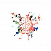 Music design vector. Colorful human brain with music instruments isolated. Brain with saxophone, violoncello, trumpet, piano keyboard, french horn, euphonium, microphone and guitar vector illustration poster