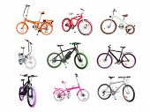 Different bikes collection. Set of electric urban cruiser MTB and folding bikes isolated on white poster