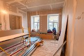 Material for repairs in an apartment is under construction remodeling rebuilding and renovation. Making walls from gypsum plasterboard or drywall. poster